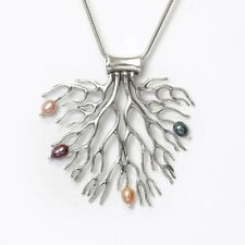Coral-shaped Tree Of Life Necklace Sterling Silver Pearls by Michael Bromberg