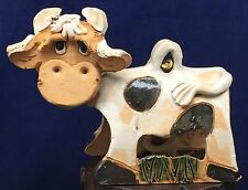 Max Hindt Creative Clay Art Pottery Cow Bull Dinner Bell Sculpture Country Farm