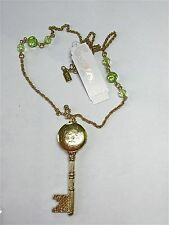 "NWT GP carved FILIGREE locket KEY shape PENDANT rope chain 22"" green beads"