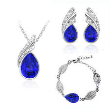 Dark Royal Blue Jewellery Set Crystal Studs Earrings, Bracelet & Necklace S352