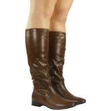WOMENS PIXIE MID CALF ROUCHED FLAT PULL ON KNEE LONG LADIES SLOUCH BOOTS SIZE