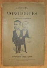 RECUEIL DE MONOLOGUES LES FRERES COQUELIN LIBRAIRIE THEATRALE VERS 1930