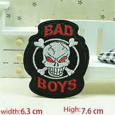 BAD BOYS Skull Embroidered Iron/Sew on Patches/Badge Applique Motif DIY Badges
