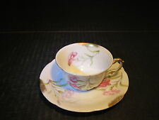 Ornate Old Limoges China Demitasse Cup & Saucer Set With Pink Flowers