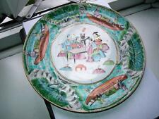 Large 25cm Chinese Canton famille rose porcelain plate unusual pattern C1890