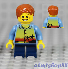LEGO - Boy Kids Minifigure w/ Sunset Palm Trees Blue Shirt & Dark Orange Hair