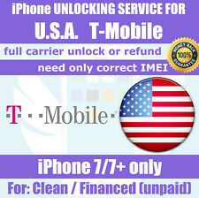 Official Unlock Service for USA T-Mobile iPhone 7 7+ Clean Unpaid Financed