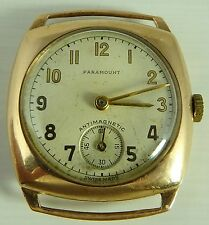 Vintage 9ct gold cased Paramount Swiss jewelled wristwatch In Good Working Order