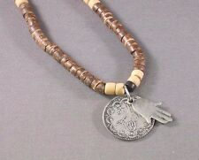 HAMSA Protection Necklace COCO WOOD Coin Medallion Charms BUDDHA GOOD LUCK Gift
