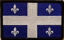 QUEBEC CANADA Flag Patch With VELCRO® Brand Fastener  BLACK Border