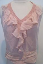 BCBG MAXAZRIA GEORGETTE Petal Rose 100% Silk Beaded, Ruffled Top New S $169