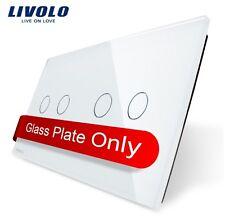 2 Fach Glas Abdeckung für Touch Lichtschalter Livolo Weiß Kristall Glas 2G + 2G
