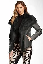 NWT Muubaa Henely Leather Sheepskin Shearling Fur Trimmed Jacket Coat US 4/ UK 8