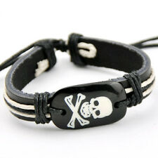 COOL man boy Halloween Skull leather bracelet S-74