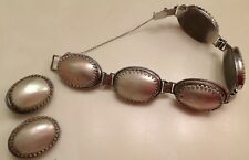 Vintage Whiting & Davis Bracelet and  Earring Set Mother of Pearl, Mabe pearl