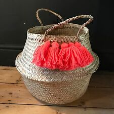 Large Neon Coral Pom Pom Belly Basket. Seagrass Planter Toy Laundry Meri Meri