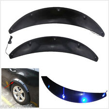 2 Pcs Black Car Fender Flares Arch Wheel Eyebrow Protector Sticker Blue LED Lamp