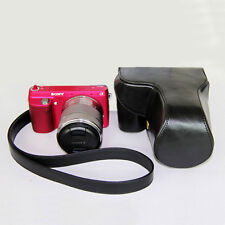 Leather Camera case bag strap for Sony A6000 A6300 NEX-7 NEX-6 With 18-55mm Lens