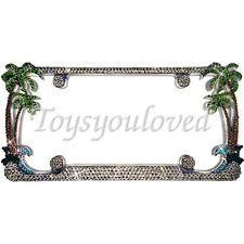 PALM TREE Crystal Bling License Plate Frame 100% Austrian Crystals Rhinestones