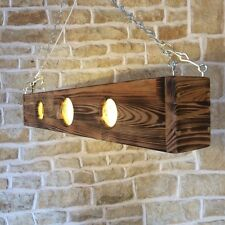 LONG WOODEN CEILING LED LIGHT BURNT WOOD LIGHT FIXTURE BAR MANCAVE KITCHEN