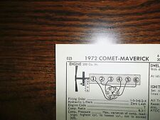 1972 Ford Maverick & Mercury Comet 91 HP 200 CI L6 SUN Tune Up Chart Great Shape