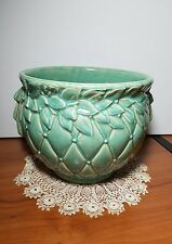 Vintage McCoy Quilted Green Art Pottery Berry & Leaf Jardiniere