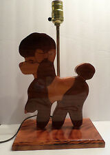 Poodle Desk Lamp Wood Carved Gloss Finish OOAK Long Cord Works Great No Shade