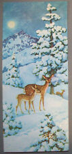 Deer doe fawn in forest woodland mica glitter Christmas Vintage Greeting Card *P