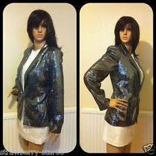 Debenhams Gun Metal/Metallic Sequined Blazer Jacket UK 12 New