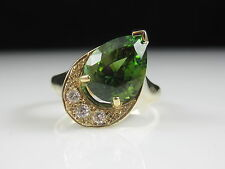 Forest Green Tourmaline Diamond Ring 14K Yellow Gold Fine Jewelry Estate Pear