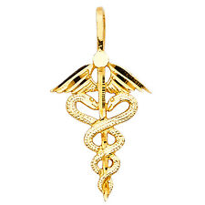 14k Solid Yellow Gold Medical Caduceus Charm Pendant NEW 0.7 grams