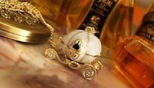 Vintage Disney Queen's Pumpkin Carriage CINDERELLA Locket Pendant Necklace Gift