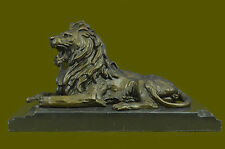 West Art pure bronze sculpture carvings fierce beast of prey lion head statue