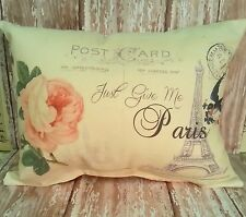 Shabby French Chic Paris Postcard Handmade Accent Pillow, Vintage Inspired