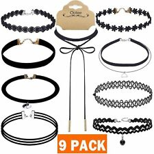 Outee 9 PCS Women Choker Necklaces Black Velvet Stretch Tattoo Chokers Set for