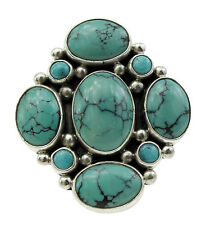 Verdy Jake, Cluster Ring, Chinese Turquoise, Sterling Silver, Navajo Made, 10