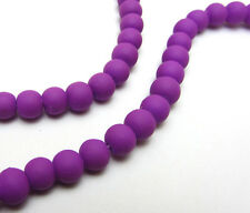 New 30pcs  6mm Loose Charm Rubber Glass beads Solid Color XP08