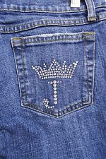 Juicy Couture Jeans Studded Pocket Boot Cut Denim Jeans sz 27 -32L womens #346