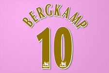 Bergkamp #10 2005-2006 Arsenal Player Size PREMIER LEAGUE Gold Nameset Printing