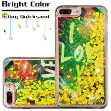 For iPhone 7 PLUS - I LOVE YOU Yellow Hearts Glitter Sparkle Liquid Water Case