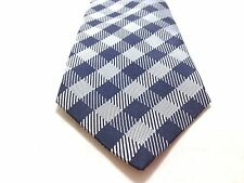 $275 ISAAC MIZRAHI Men's BLUE SILVER CHECK PLAID TIE SLIM DRESS NECKTIE 59X3.25