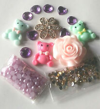 W262 resin rose bear DIY Mobile Cell Phone Case Bling Alloy Crystal Deco