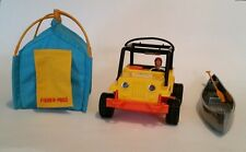 Fisher Price Jeep Tent Canoe & Paddle Vintage Adventure People Figures Play Set