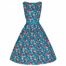 LINDY BOP 1950'S STYLE AUDREY TURQUOISE FLORAL SWING DRESS SIZE UK 14 BNWT