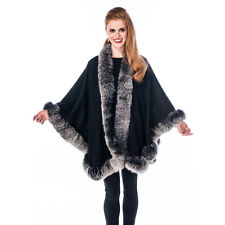 Cashmere Cape for Women - Frost Fox Trimmed Real Fur - 30