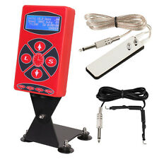 Red Color Pro Powerful Tattoo LCD Digital Power Supply Clip Cord Foot Pedal Kit