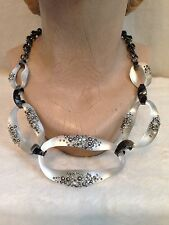 ALEXIS BITTAR Gunmetal WHITE SILVER LUCITE 5 LINK CRYSTAL ENCRUSTED NECKLACE