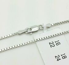"14k Solid White Gold Box Link Necklace Pendant Chain 16"" 1.1mm"