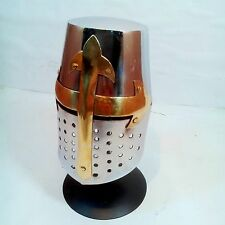 ANTIQUE CRUSADER KNIGHT MEDIEVAL TEMPLER MINI ARMOR HELMET WITH STAND