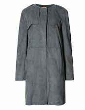 Size 14 Womens M&S grey Paneled Suedette Coat